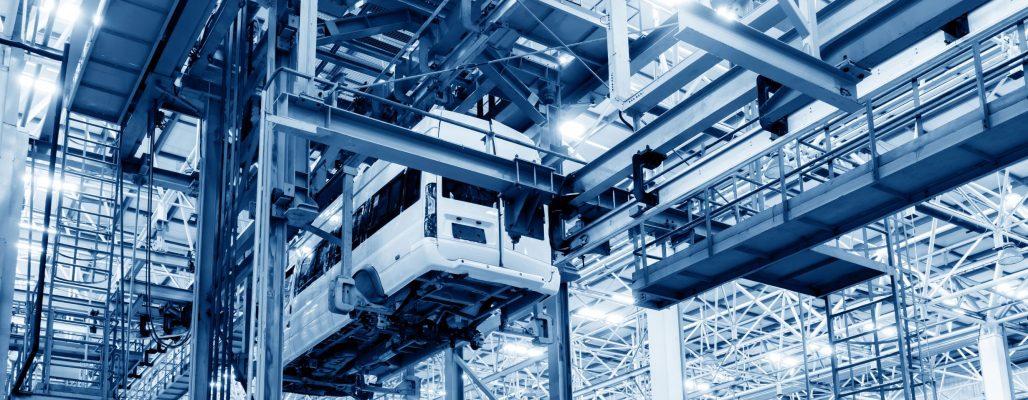 CarF digitale Fabrikplanung - Beispiel wie ein Auto durch eine Produktionshalle navigiert wird